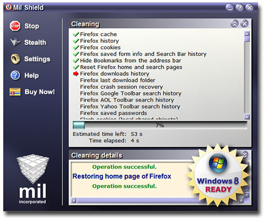 Automatically cleans cookies, history, cache, index.dat files and many other.